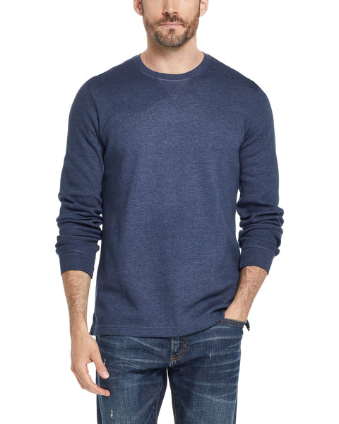 LONG SLEEVE WAFFLE CREW IN NAVY HEATHER