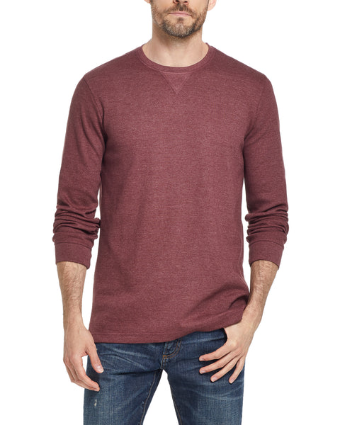 LONG SLEEVE WAFFLE CREW IN RED MAHOGANY