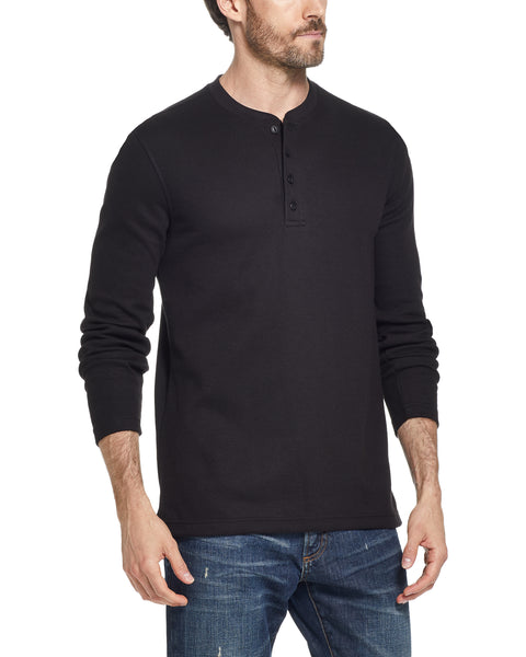 LONG SLEEVE WAFFLE HENLEY IN BLACK
