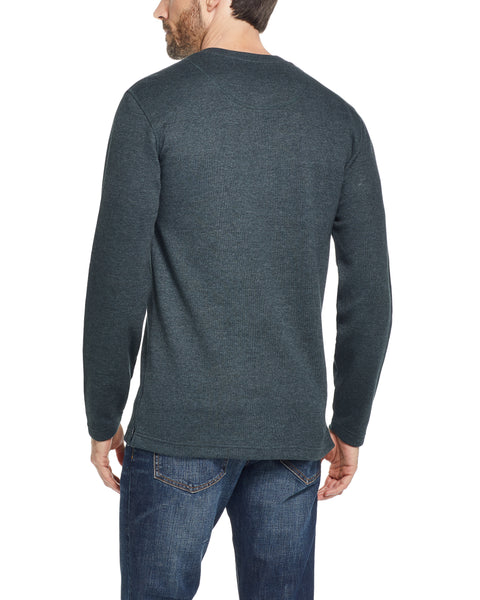 LONG SLEEVE WAFFLE HENLEY IN SCARAB GREEN
