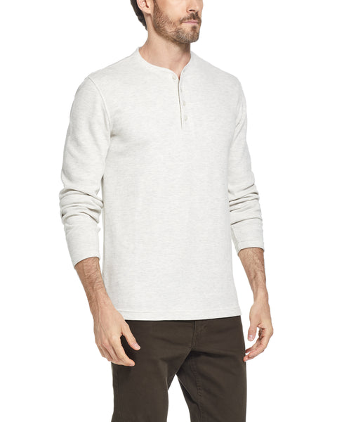 LONG SLEEVE WAFFLE HENLEY IN OATMEL HEATHER