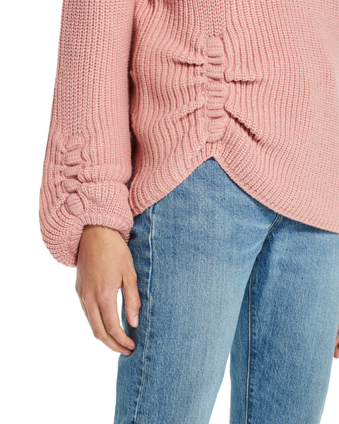 Balloon-Sleeve Ruched Sweater in Dusty Pink