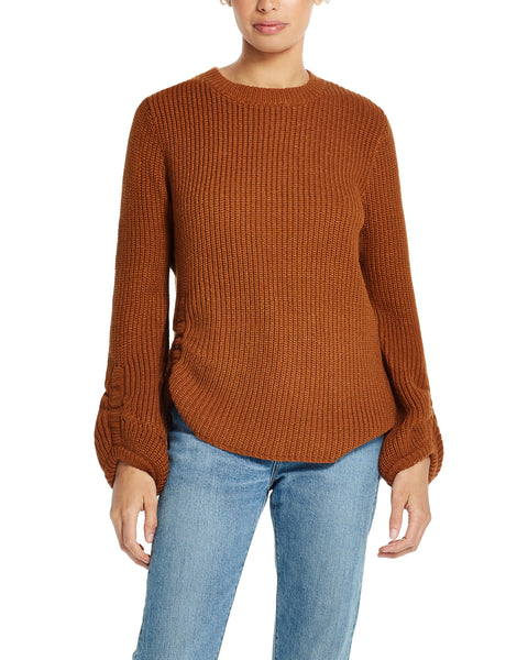 Balloon-Sleeve Ruched Sweater in Glazed Ginger