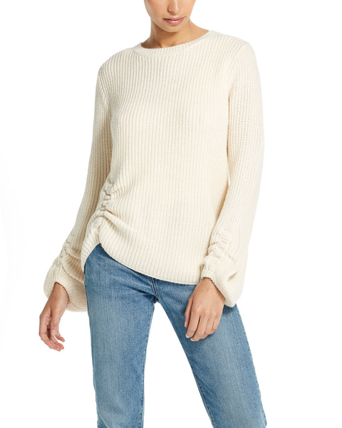 Balloon-Sleeve Ruched Sweater in Ivory