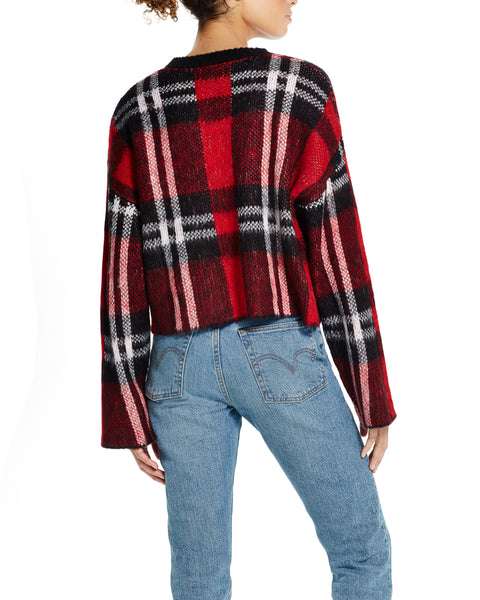 Brushed Plaid Crop Sweater in Red