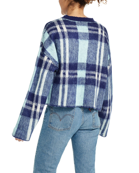 Brushed Plaid Crop Sweater in Waterfall