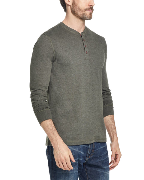 LONG SLEEVE SUEDED HENLEY IN ARMY GREEN