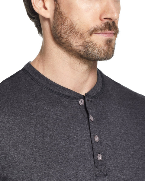 LONG SLEEVE SUEDED HENLEY IN BLACK HEATHER