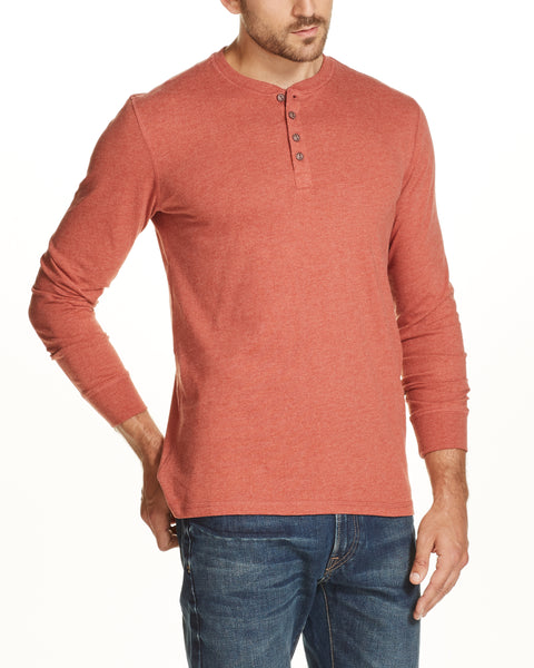 LONG SLEEVE SUEDED HENLEY IN ORANGE HEATHER