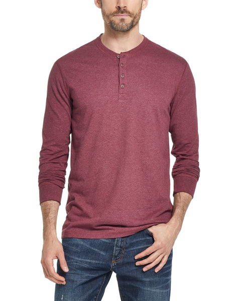 LONG SLEEVE SUEDED HENLEY IN CABERNET HEATHER
