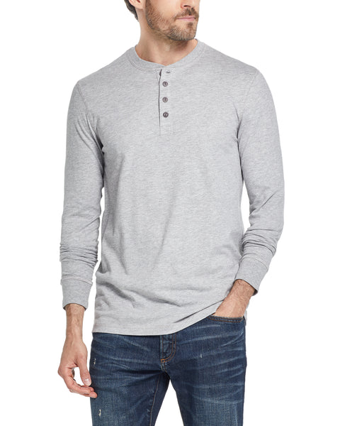 LONG SLEEVE SUEDED HENLEY IN LIGHT GREY HEATHER