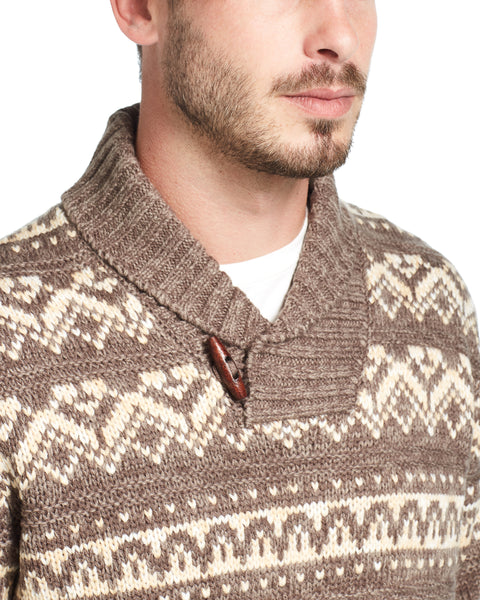 Jacquard Shawl Collar Sweater IN Labradorite