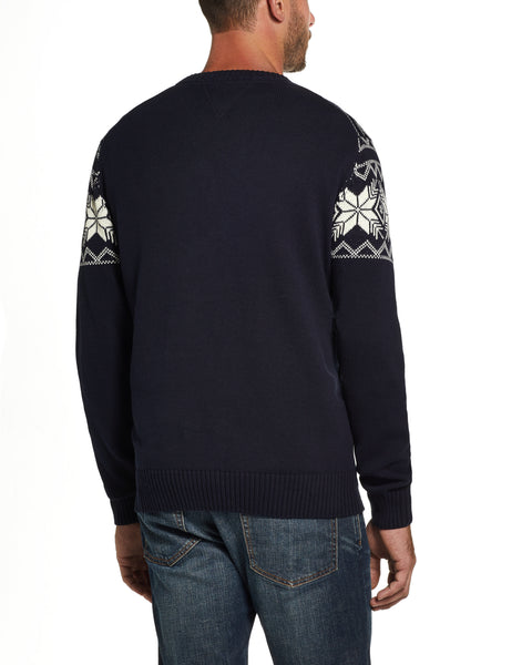 Snowflake Pattern Sweater IN Navy