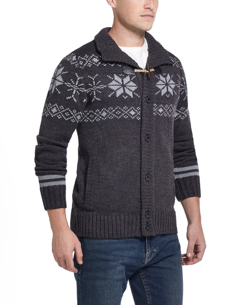 Snowflake Cardigan Sweater in Charcoal Heather
