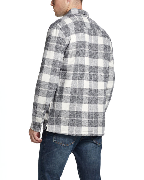 PLAID SHERPA LINED SHIRT JACKET IN CHARCOAL