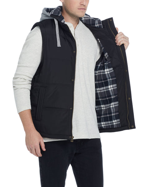 Hooded Puffer Vest in Black