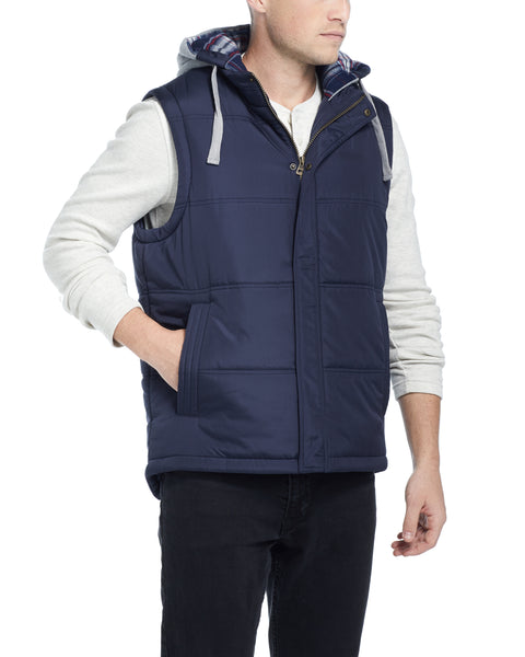 Hooded Puffer Vest in Navy