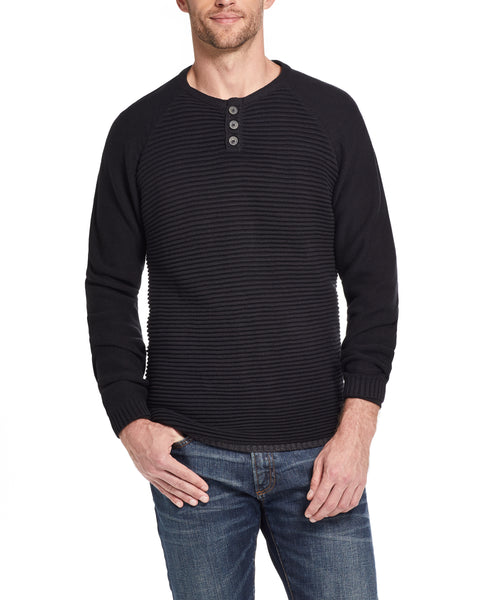 Textured Long Sleeve Henley Sweater in Black