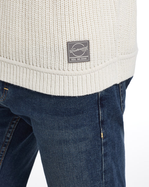 Textured Stitch Crew Sweater in Ecru