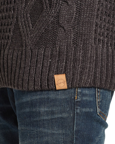 Fisherman Toggle Shawl Collar Sweater in Charcoal Heather