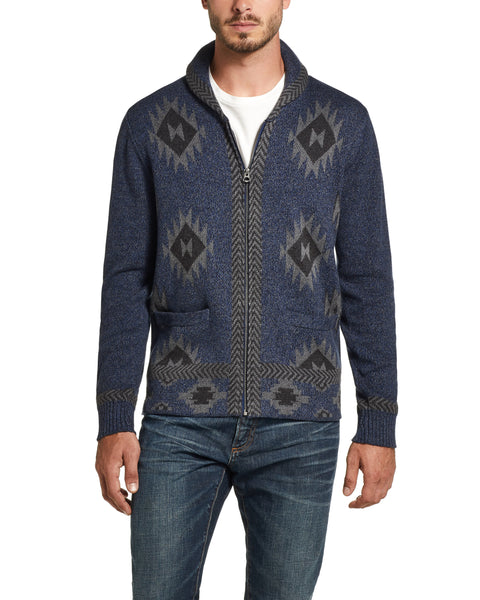 Western Pattern Full-Zip Cardigan Sweater IN Tricolor Blue