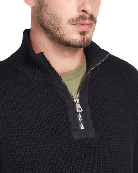 Waffle Texture Quarter-Zip Sweater in Black