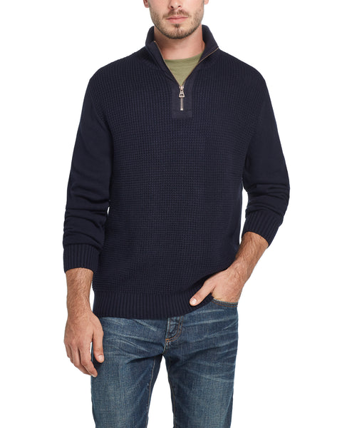 Waffle Texture Quarter-Zip Sweater in Blue Black