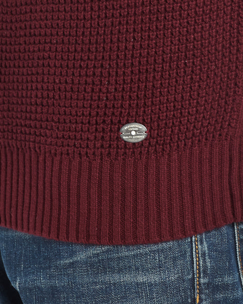 Waffle Texture Quarter-Zip Sweater in Deep Burgundy