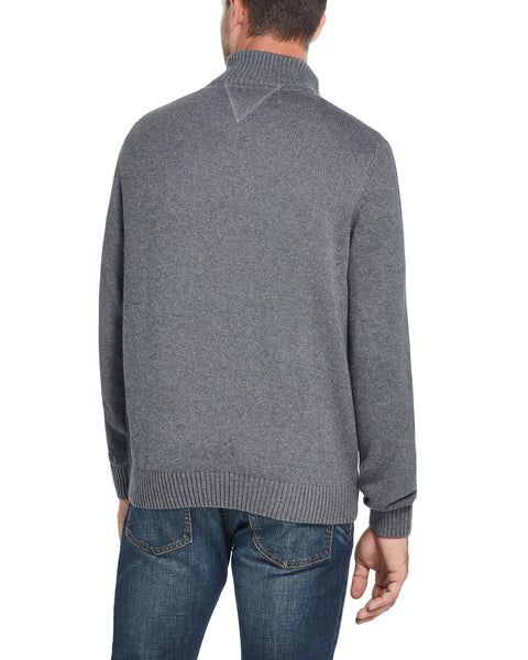 Waffle Texture Quarter-Zip Sweater in Smoke Grey