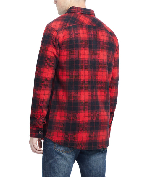 Plaid Polar Fleece Flannel Shirt in Red