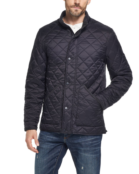 DIAMOND QUILTED WATER RESISTANT NYLON JACKET IN BLACK