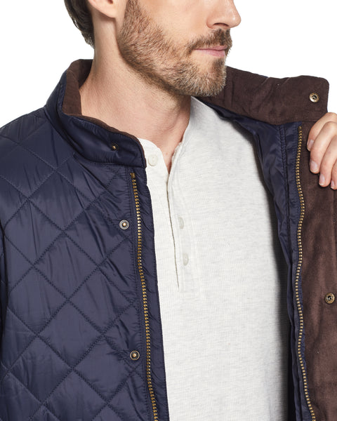 DIAMOND QUILTED WATER RESISTANT NYLON JACKET IN DARK NAVY