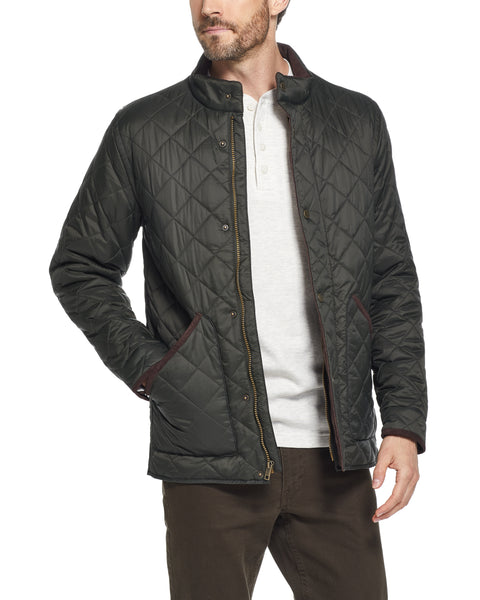 DIAMOND QUILTED WATER RESISTANT NYLON JACKET IN ROSIN