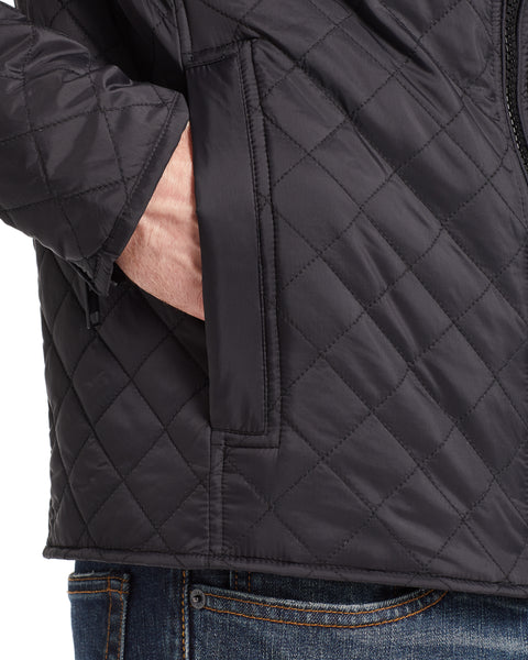 QUILTED  MOTO JACKET IN BLACK