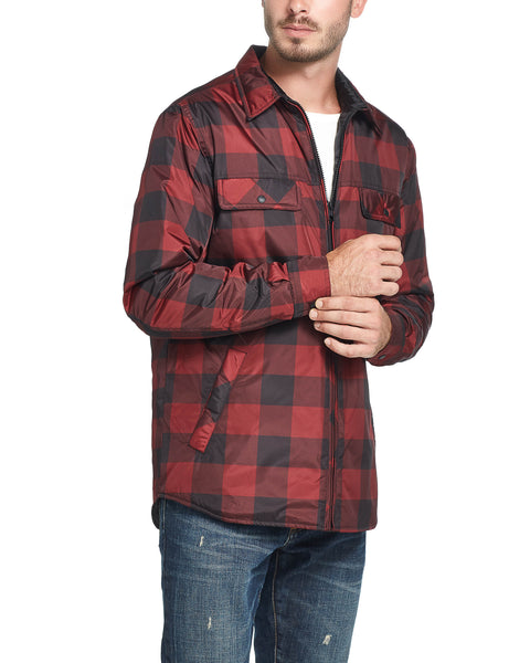 FULL ZIP TRAVEL JACKET IN RED PLAID