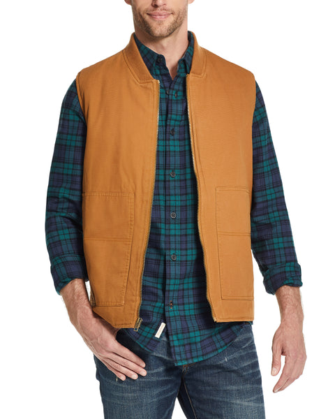 WEATHER WASH® CANVAS WORKWEAR VEST IN  CARMEL KHAKI