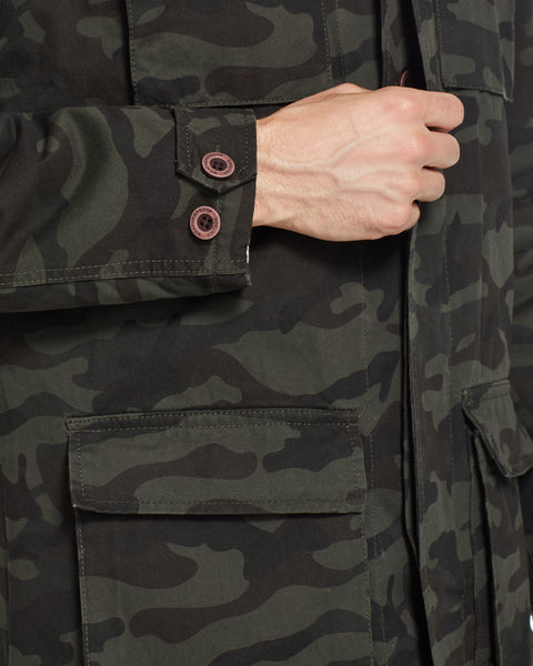 Fleece Lined Camo Jacket in Olive