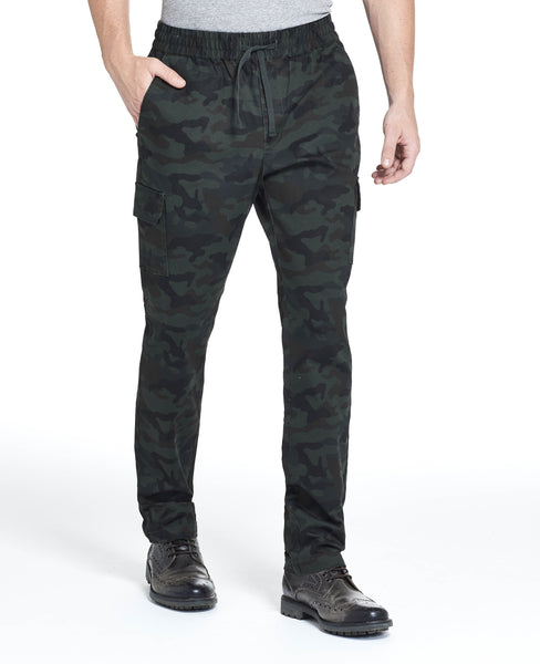 CARGO DRAWSTRING PANT IN OLIVE CAMO
