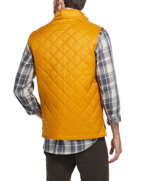 DIAMOND QUILTED VEST IN INCA GOLD