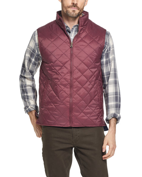 DIAMOND QUILTED VEST IN RED MAHOGANY