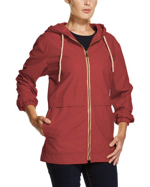 Women's Hooded Rain Slicker in Biking Red