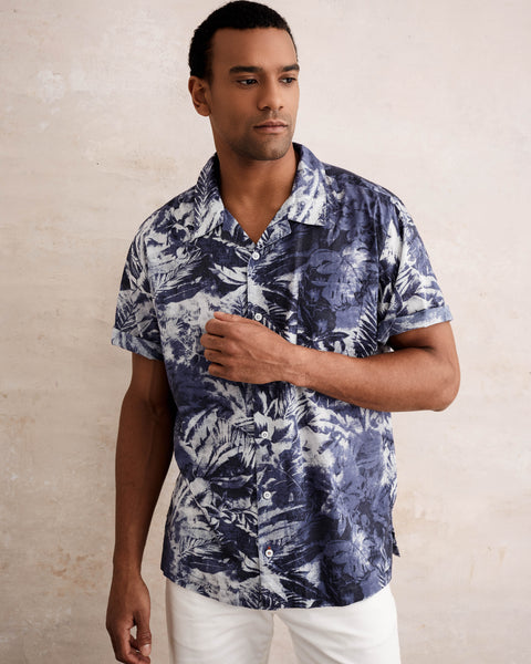 Camp Collar Printed Shirt in Astral Aura