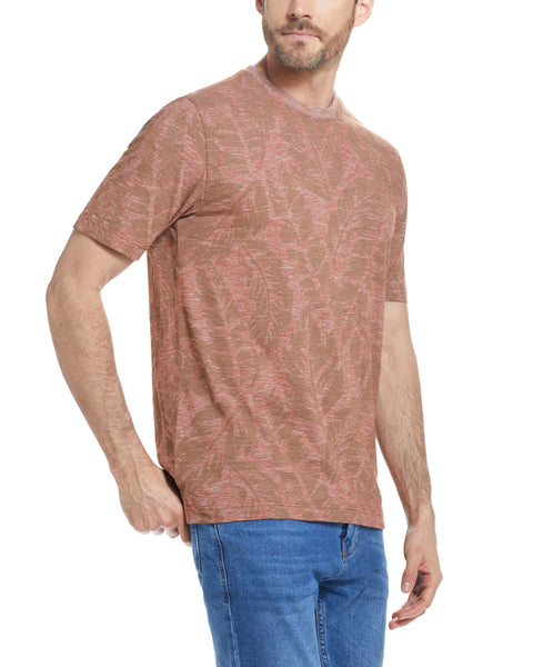 MICRO STRIPE PRINTED TEE  IN CINNAMON STICK