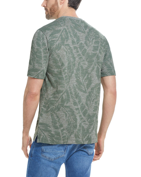MICRO STRIPE PRINTED TEE  IN RIFLE GREEN