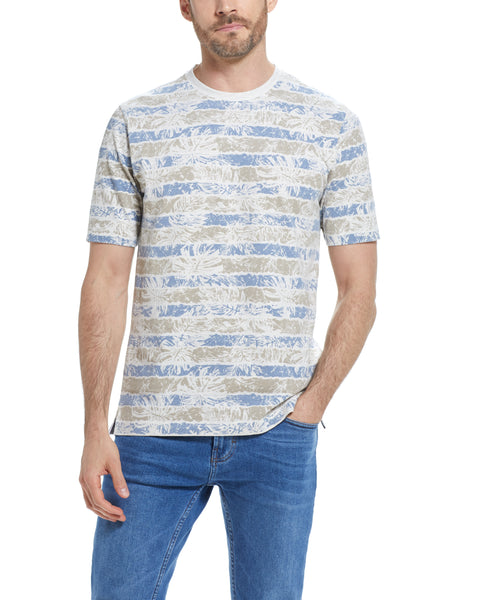 SUEDED JERSEY STRIPE TEE IN FADED DENIM