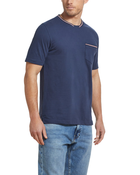 SUEDED JERSEY POCKET TEE IN NAVY