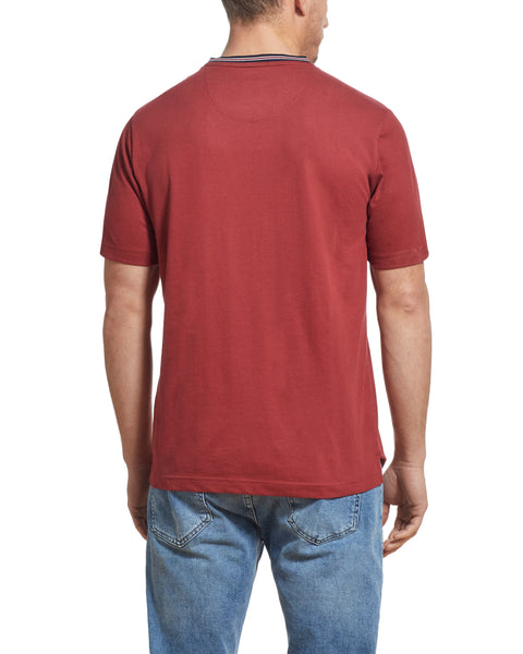 SUEDED JERSEY POCKET TEE IN RED PEAR