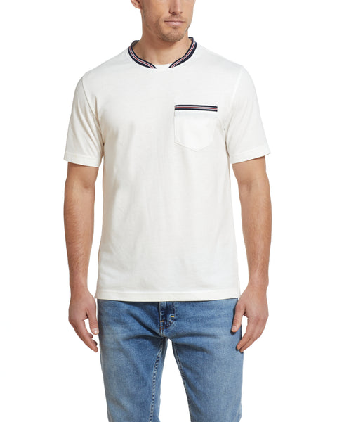 SUEDED JERSEY POCKET TEE IN WHITE
