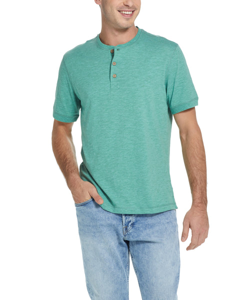 SHORT SLEEVE SUEDED HENLEY IN BLUE GRASS