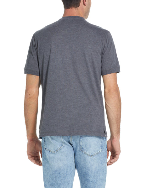 SHORT SLEEVE SUEDED HENLEY IN CHARCOAL